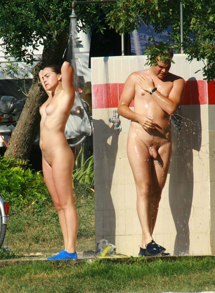Family nude beach shower